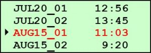 Printing Pine G2 Data - Data Files Screen