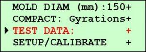 Printing Pine G2 Data - Main Menu Screen 2 - Test Data