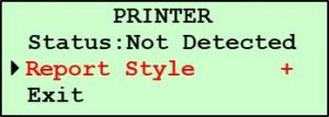 G2 Printer Setup Submenu - Report Style