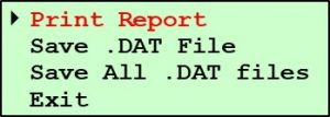 Printing Pine G2 Data - Test Data Submenu - Print Report