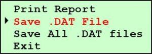 G2 Test Data Submenu - Save DAT File