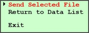 125X with Upgraded Controls Send Serial Data Menu - Send Selected File