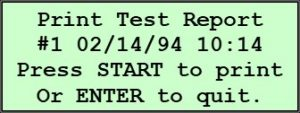 Pine 125X Original Controls Print Test Report Screen
