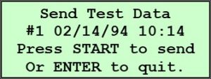 Pine 125X Original Controls Send Test Data Screen