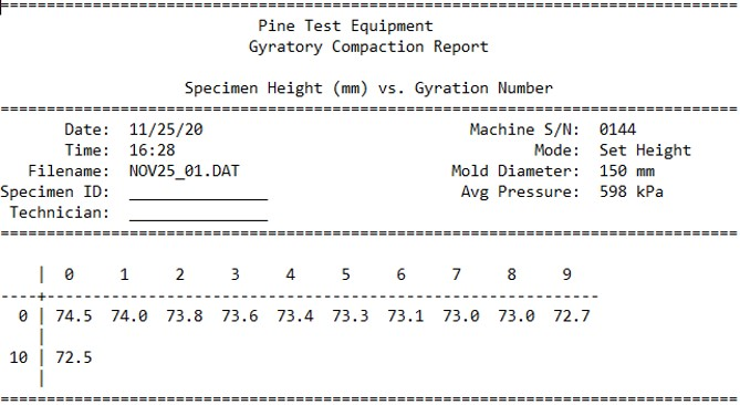 Pine 125X Original Controls Wide Format Report